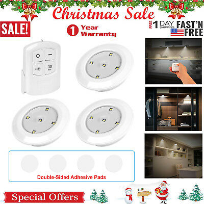 3 Pack Remote Control LED Security Night Light Cordless Battery-Powered Lamp US