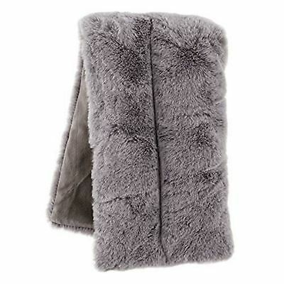 Aroma Home Grey Faux Fur Body Wrap Microwave Lavender Fragrance Heat Pack