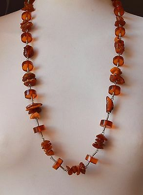 58.9 g Genuine Batural Antique Baltic Amber Egg Yolk Butterscotch Necklace