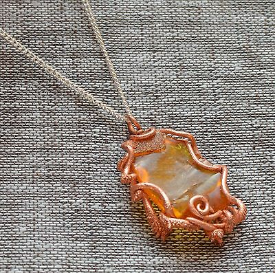 9,4 gr Genuine natural baltic amber egg yolk butterscotch pendant silver chain