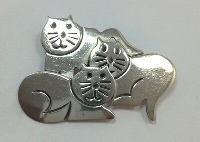 Vintage Retro Taxco Cat Brooch Pin POM TO-31 Mexican Sterling Silver Kittie M...