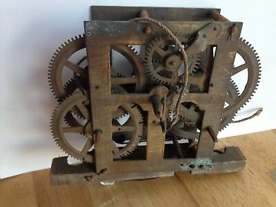 "antique E M Welch USA brass clock movement  striker spares or repairs 6"" x 5"""