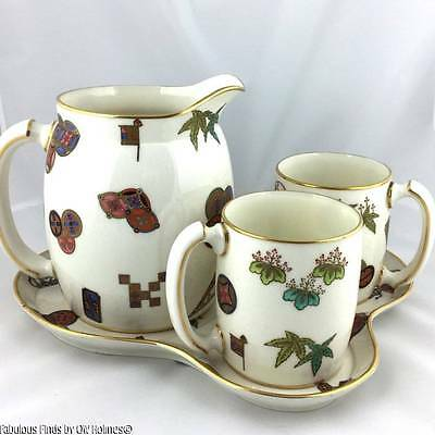 Antique 1880 Royal Worcester Aesthetic Movement Cider Drinking Set  Pitcher Mugs