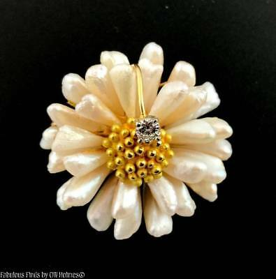 Estate GORGEOUS 14K Gold FLOWER Brooch Pin ~ Pearls and Diamond