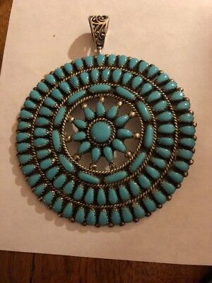"""Navajo """"Conch"""" Large Cluster Sleeping Beauty Turquoise Pendant Signed SWM"""