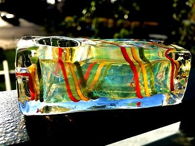 "Collectible TOBACCO Smoking Pipe Herb Glass Hand Pipes Bowl - 3.5"" Square Rasta"