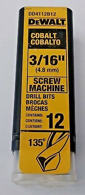 "DeWalt DD4112B12 3/16"" Cobalt Screw Machine Drill Bit 12 Bits Germany"
