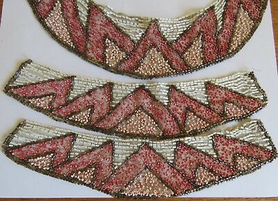 Antique Collar Cuffs Art Deco French Beaded Trim Pink Coral White Beads