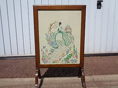 Vintage Wood Framed Fire Screen With Embroidered Insert