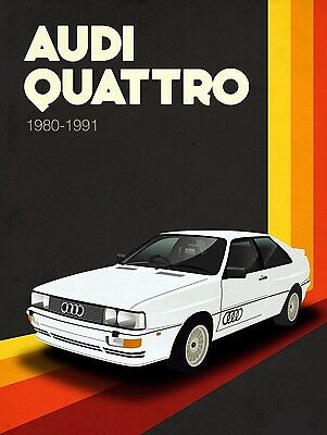 Audi Quattro , Retro metal Aluminium Sign Vintage Garage shed Man Cave wall