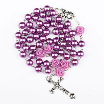 Catholic Rosary Purple Pearl Beads with Virgin Mary Icon and Jesus Cross