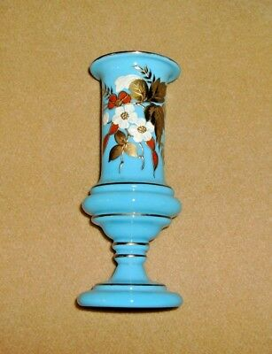 "1800's ANTIQUE Vintage BLUE BRISTOL GLASS Victorian 7"" VASE w/Enameled FLOWERS"