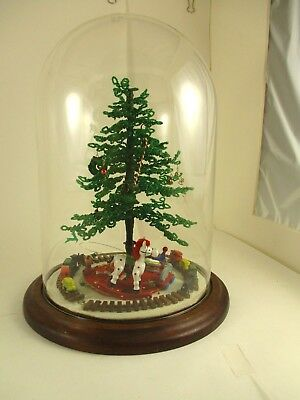 Vintage Hand Crafted Bead Christmas Tree With Ornaments, Train & Glass Dome