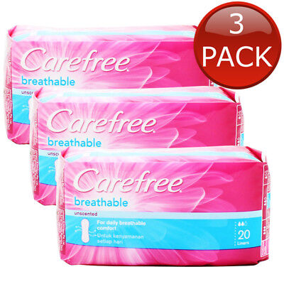 3 x CAREFREE BREATHABLE UNSCENTED LINERSSANITARY PANTY LINER PERIOD PAD 20 PACK