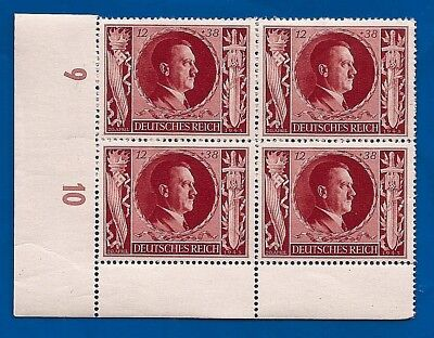 1943 RED Nazi Third 3rd Reich Germany Adolf Hitler birthday stamp block MNH ** C
