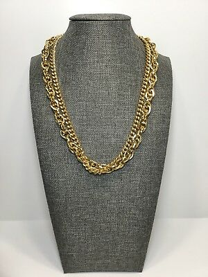 Fashion Two Strands Gold Tone Link Chain Collar Necklace