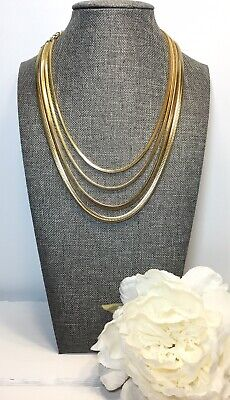 Vintage Runway Multi Strand Snake Chains Gold Tone Collar Necklace
