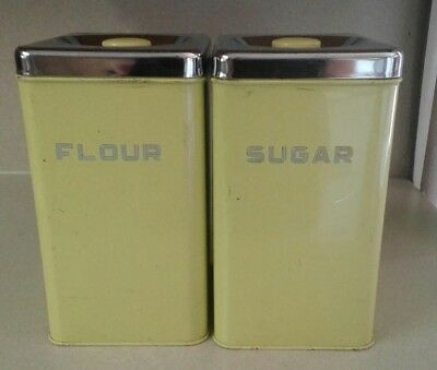 Vintage Lincln BeautyWare Yellow Metal Flour Sugar Cannisters