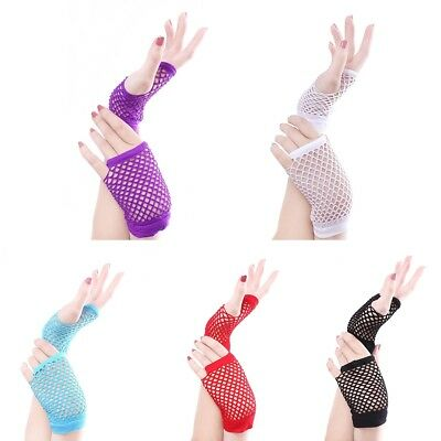 Comfysail 12 Pairs Adults Short Fishnet Fingerless Net Gloves 80s Rave Fancy Dress Neon Accessories 12 Colors Fancy Dress & Accessories Toys & Games