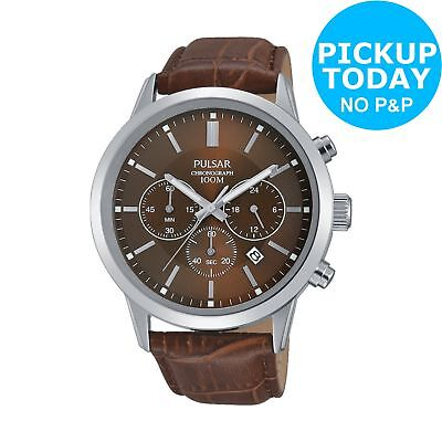 Pulsar Men's Brown Strap Chronograph Watch.
