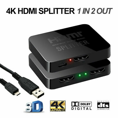 1080P HDMI Splitter 2 IN 1 Out Video Duplicator Full HD 3D 4K Monitor USB Power