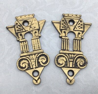 2 Antique Brass Key Holes Escutcheons Art Deco Art Nouveau Aesthetic Eastlake
