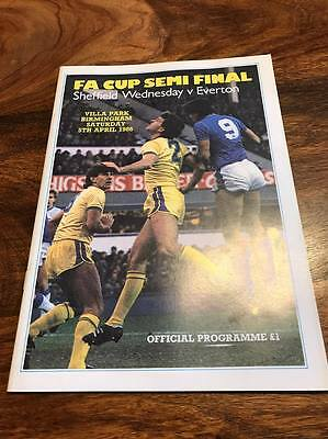 Sheffield Wednesday V Everton 1986 Fa Cup Semi Final Programme Mint Free Postage