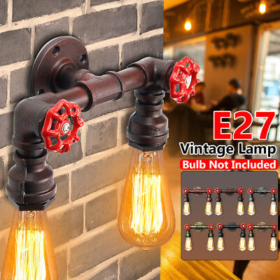 E27 Vintage Industrial Iron Dual Water Pipe Shape Wall Lamp Sconce Light Fixture