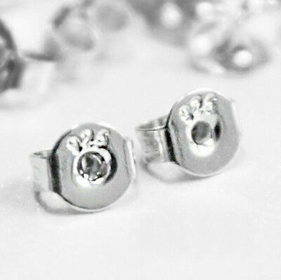 50PCS 925 Silver Stud Earrings Plugs Stoppers Ear Post Nuts Jewelry Accessories