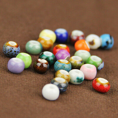 50/100/200PC 6mm Ceramic Loose Beads DIY Ball Necklace Bracelet Jewelry Acces