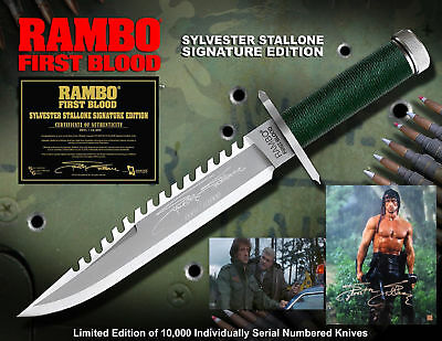 """RAMBO 1 First Blood Part I Messer Knife """"Sylvester Stallone Signature Edition"""""""