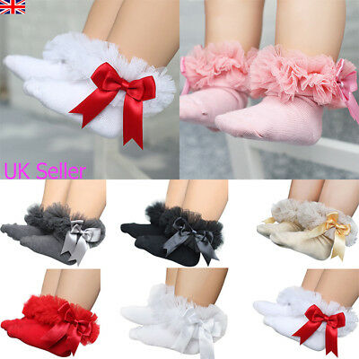 Baby Girls Kid Bow Lace Ruffle Frilly Ankle Socks Princess Tutu Short Socks 0-5Y