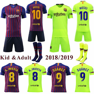 2018/19 Soccer Kids Adult Kit Short Sleeve Sportwear For Men's Jersey+Socks Set