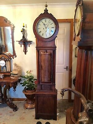 Early 19th C. Scottish Mahogany Drumhead Longcase Grandfather Clock