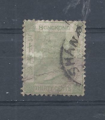 Hong Kong stamps. 30c green Queen Victoria crown CA used Shanghai   (Y593)