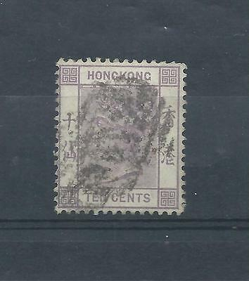 Hong Kong stamps. Queen Victoria 10c mauve used. Crown CA watermark (Y586)