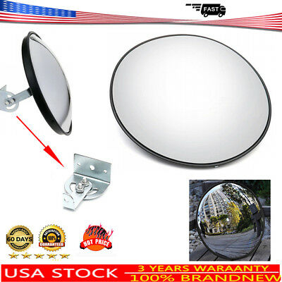 Wide Angle 30cm Security Curved Convex Outdoor Road Mirror Traffic Driveway Safe