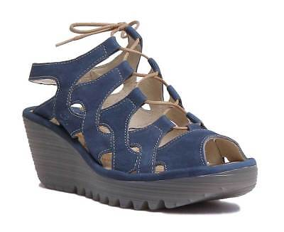 8cd92a274728 Fly London Yexa916 Women Leather Blue Ankle Strap Wedge Sandals Size UK 3 -  8