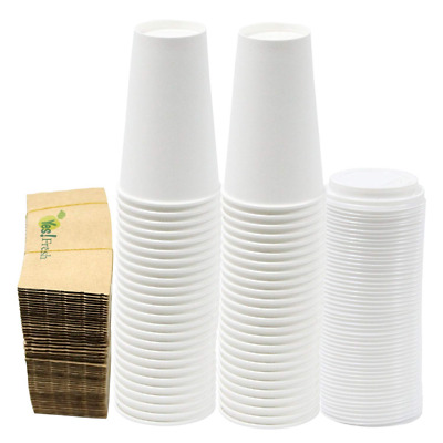 Paper Hot Cups with Lids and Cup Sleeves,16oz White Cups, Qty of 50 1