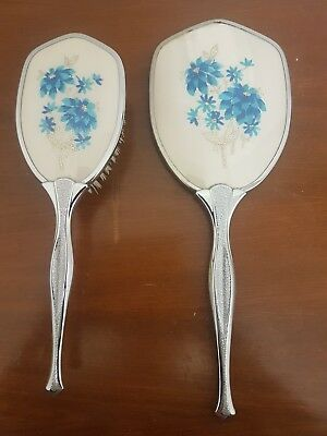 Vintage Hand Mirror And Brush Set in EC