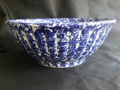 "Vintage ISG ""Spongeware"" Pottery blue & white LARGE mixing Bowl ~ Made in Italy"