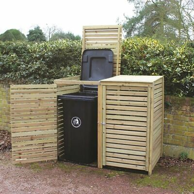 Wido NEW WOODEN GARDEN WHEELIE BIN STORAGE DOUBLE DOOR LID OUTDOOR STORE