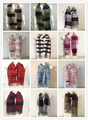 Wholesale 12Pcs 100% Cashmere Scarf Made In Scotland Checked Design Lot