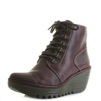 Womens Fly London Yarn Rug Purple Leather Lace Up Wedge Ankle Boots Size