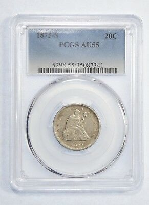 1875-S Liberty Seated Twenty-Cent Piece CERTIFIED PCGS  AU 55 Silver 20c
