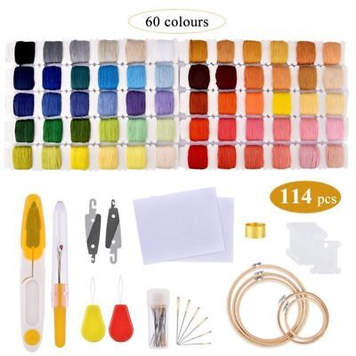 Embroidery Starter Kit Cross Stitch Kits for Beginners Threads +5pcs Hoops Tools