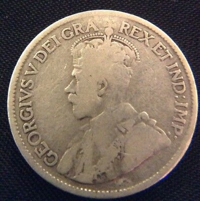 Nice 1919 Canada Canadian 925 Silver 25 Cents George V Maple Boughs Coin