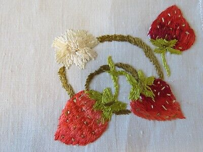 Antique Cocktail Doilies Linen Embroidered Strawberry Society Silk Embroidery
