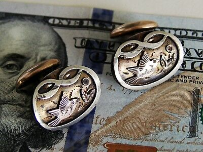 PAIR Antique Victorian Gold Filled Cuff Links Eastlake Tri-Color Japanese