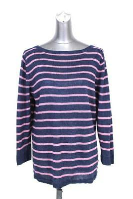 939e08f636 womens blue pink striped TALBOTS crewneck sweater 100% LINEN lightweight XL